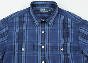 Men's POLO RALPH LAUREN Blue Plaid Linen Silk Shirt L Large NWT NEW $125+ WOW!