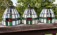 3 Stained Glass Ceiling Fan Shades Light Fixture Globes Tiffany Style Art Glass