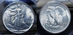 1945 P Walking Liberty Half Dollar 50c PCGS MS 63 Old Rattler Holder !!