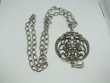Beautiful Collectible Necklace Silver Tone Large Pendant Signed AVON NICE