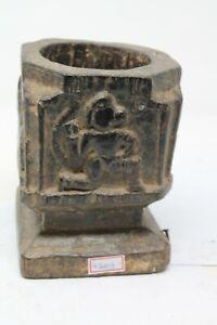 Antique Original Wooden Tribal Folk Hindu God Hanuman Carved Ashes Bowl NH6309