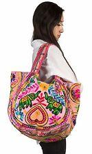 Pink Elephant Canvas Shoulder Bag Handbag Tote Purse Casual Spacious Summer