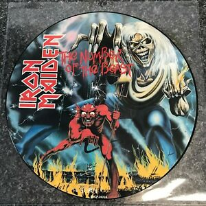 """LP PICTURE DISC IRON MAIDEN """"NUMBER OF THE BEAST"""" UK 1ST PRESS 1982 NEAR MINT"""