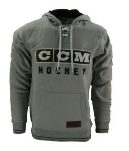 CCM Hockey CLASSIC LACE NECK Adult/Senior Hoody Sweatshirt-LIGHT GREY Size S