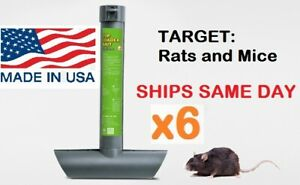 6 x RAT MOUSE MICE RODENT SELF FEEDING TOP LOAD TUBE BAIT STATION Lockable Trap