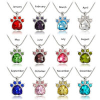 Rhinestone Birthstone Paw Print Charm Pendant Jewelry Beauty Chain Necklace Gift