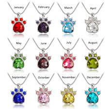 Rhinestone Birthstone Paw Print Charm Pendant Jewelry Beauty Chain Necklace Gift