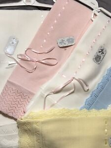 Spanish Knitted Baby Shawl Fine Knitted Bow Ribbon Large Soft Blanket 16 Colours