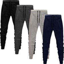 Mens Slim Fit Joggers Jogging Bottom Fleece Gym Winter Skinny Pants Zip Pockets
