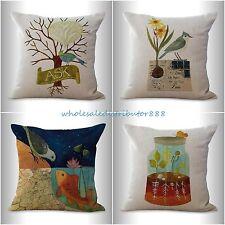 4pcs bed pillows decorative cushion covers retro bird peacock bottle garden fish