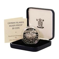 Cayman Islands Barcelona Olympic Games Cycling $5 1992 Proof Silver Crown Mint B