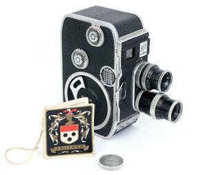 Bolex B8 twin lens 8mm cine camera with AR Yvar 36mm f2,8 and Yvar 13mm f1,9.
