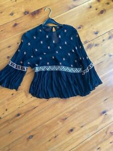Pretty Zara Sheer Embroidered Peplum Top, Great Cond, Size S