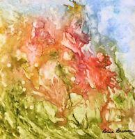 """6 x 6 ORIGINAL ABSTRACT WATERCOLOR ART  """"FANTASY GARDEN""""  YUPO  ACEO ARTIST"""