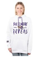 NFL Baltimore Ravens Women's Fleece Hoodie Pullover Sweatshirt Tie Neck Size L