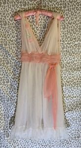 Vintage Nightie Lingerie Babydoll Chiffon Teddy Pink With Flower Charmode