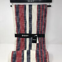 DKNY Red Navy White Beach Stripe Throw Blanket 50 x 60 Fringe Cotton