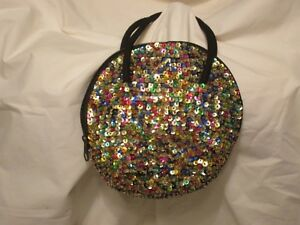 Far Away Multi Color Sequin Black Round Evening Bag Purse Clutch Small Zip