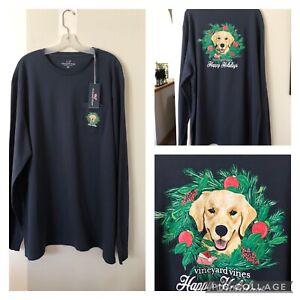 VINEYARD VINES navy graphic HAPPY HOLIDAYS Family Best Friend dog shirt 2XL