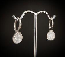 925 Sterling Silver Round Diamond Oval Drop Dangle Leverback Earrings