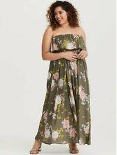 Torrid - Size 3: Olive Floral Challis Maxi Dress NWT
