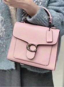 NWT COACH Leather Tabby Top Handle 20 In Pebble Leather pink $450