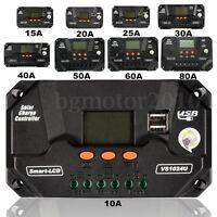10-80A PWM LCD USB Solaire Panneau Batterie Régulateur Charge Contrôleur 12/24V