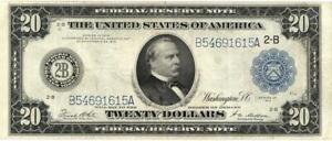 U.S. Large Size $20 Dollars Federal Reserve FR-971b Banknote 1914