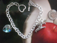 Vampire Love Twilight Silver Wolf Crystal Heart Necklace