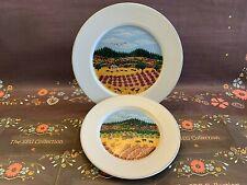 BLOCK SPAL Napa Valley Barnes 1983 Autumn Salad Bread Plate Set of 2 Portugal