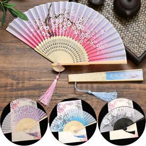 Chinese Big Bamboo Wood & Silk Folding Hand Fan Personalized Wedding Gift Crafts
