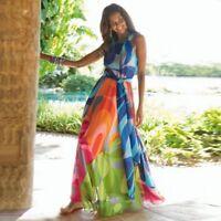 maxi robe longue mousseline de soie satin coloré Long maxi BOHO Party Beach