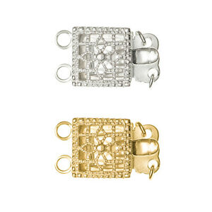 14k Gold Filled / STERLING SILVER CLASSIC FILIGREE 2-strand PEARL BOX CLASP