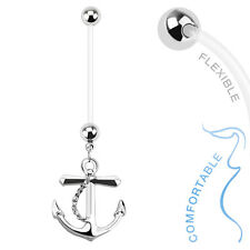 Nautical Anchor Dangle BioFlex Flexible Pregnancy Navel Belly Button Ring 14G