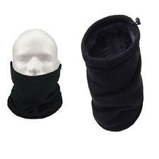 Black Neckwarmer Thermal Polar Fleece Snood Scarf Hat Ski Wear Mens Ladies