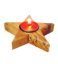 Teelichthalter 10,5 cm Kerzenhalter Leuchter Holz Stern Deko Kerzenständer