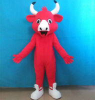 Red The Bull Mascot Costume Suit Cosplay Christmas Party Game Dress Adult Unisex