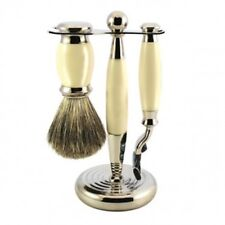 Perma Brands 3  Piece Faux Ivory Shaving Horn, Brush and Razor Set