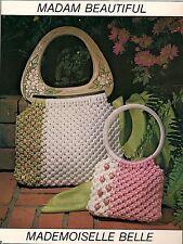 Color Block Macrame Purse Patterns #1918 Macra-Mates - Vintage