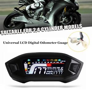 1×Universal LED Display Speedometer LCD Digital Odometer Guage For 2,4 Cylinder