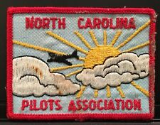 North Carolina Pilots Association ~ Embroidered Sew On Patch ~ Airplane In Sky