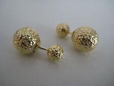 9 ct oro amarillo talla diamante DOBLE pendientes de presión con bola ULTIMO