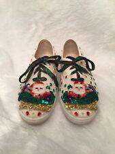 Glitzies Womens Sneakers Sz 8.5 White Canvas Embellished Santa Motif Christmas