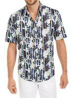 Alfani Men Shirt Blue Seashell Size 2XL Vasser Floral Stripe Button Down $55 329