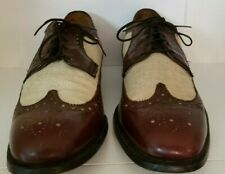Vintage Johnston & Murphy Wing Tips Cordovan Leather Beige Canvas Shoes 10.5 D