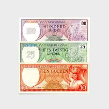 Ensemble 3 Diff. Suriname Papier Monnaie 10, 25 & 100 G.au-Unc