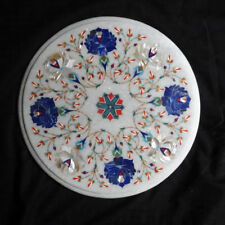 "12"" side end Marble white Table Top Pietra dura Inlay Furniture Decor"