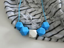 Beautiful Bright Blue White Silicone Hexagon Shape Beads Baby Teething Necklace