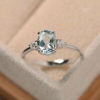 1,70 Ct Zertifiziert Natürlich Oval Aquamarin Diamant Ehering 14K Weißgold