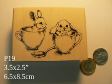 P19 Cup of tea bunnies  WM Rubber stamp